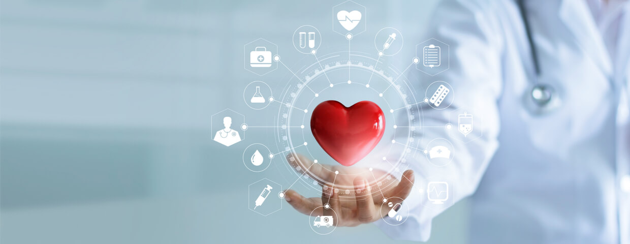 Medicine doctor holding red heart shape in hand with medical icon network connection modern virtual screen interface