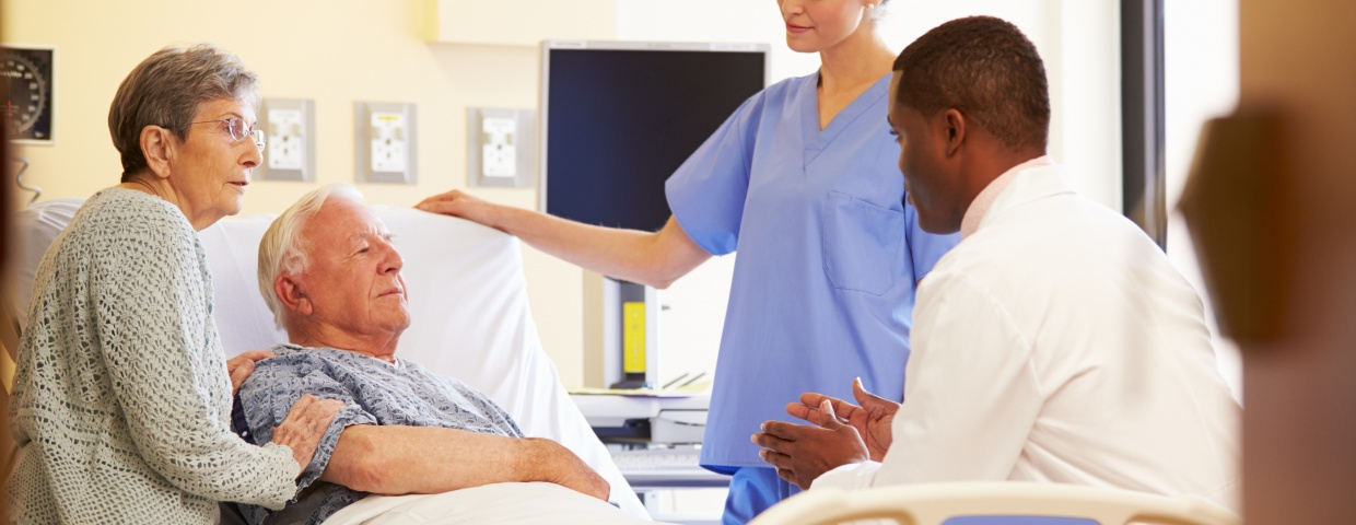 medical team with patient at a hospital